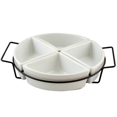Gibson Home Ceramic Gracious 4-Section Serving Tray with Metal Rack