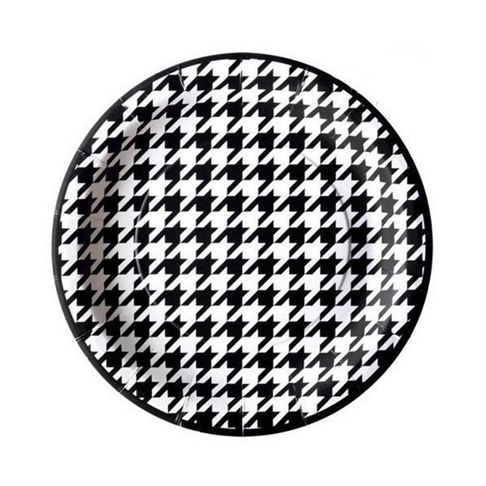 7 8ct Houndstooth Party Dessert Plates Black/White