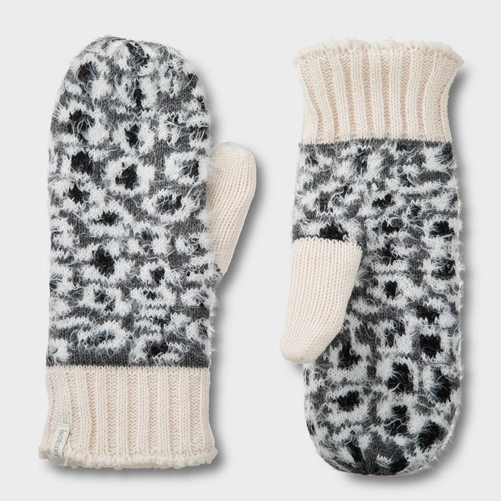 Image of Isotoner Women's Leopard Mitten - Gray One Size, White Gray Black
