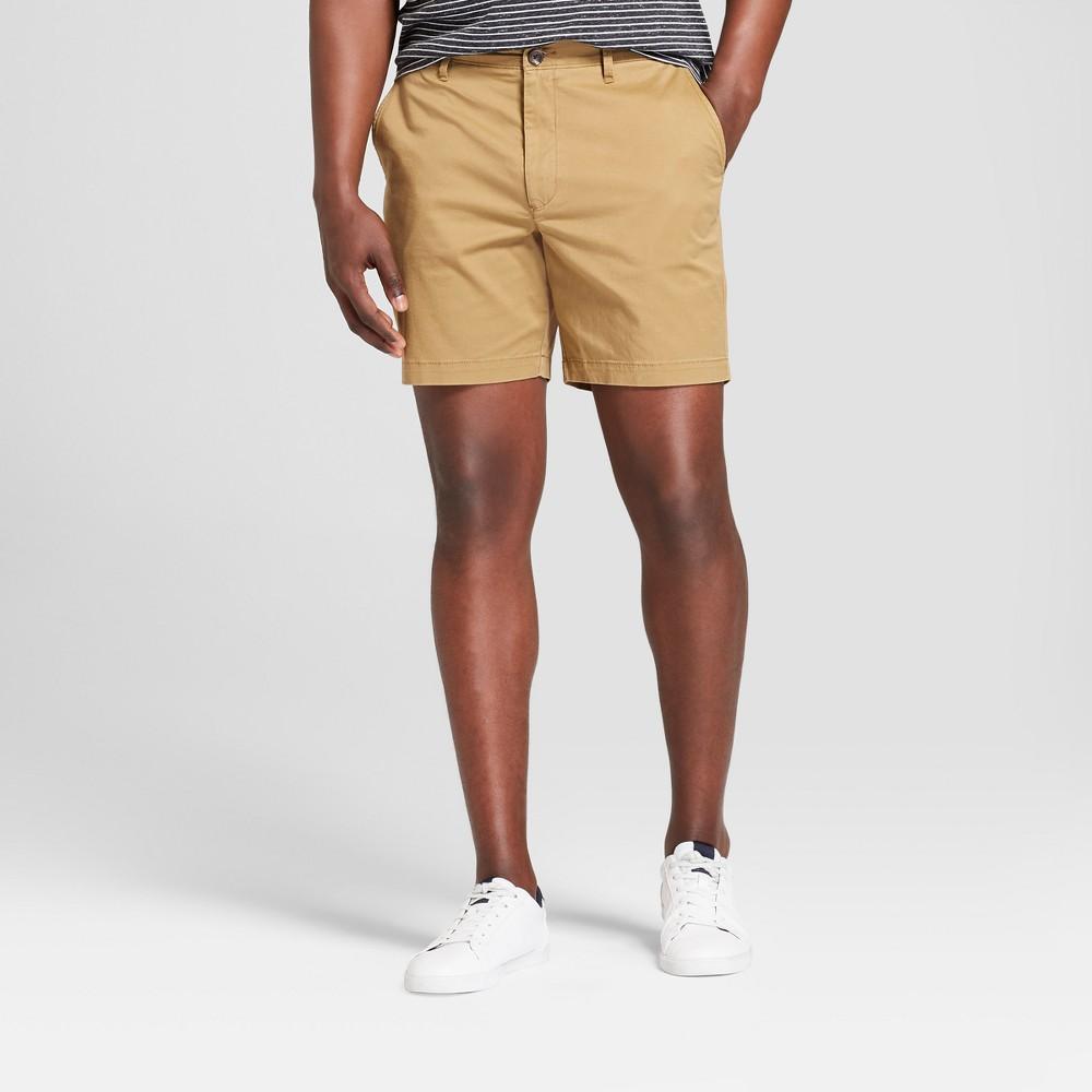 Men's 7 Linden Flat Front Shorts - Goodfellow & Co Dapper Brown 38