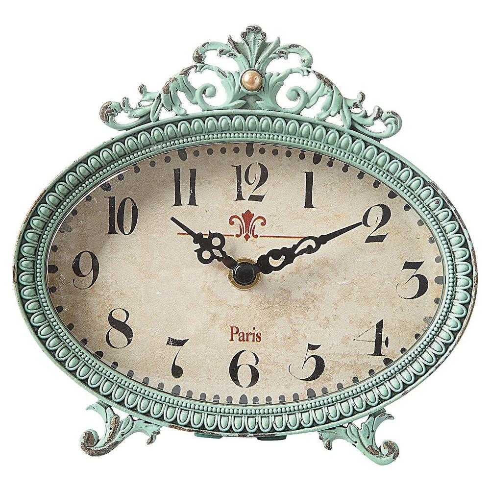 Pewter Oval Mantle Clock Aqua - 3R Studios