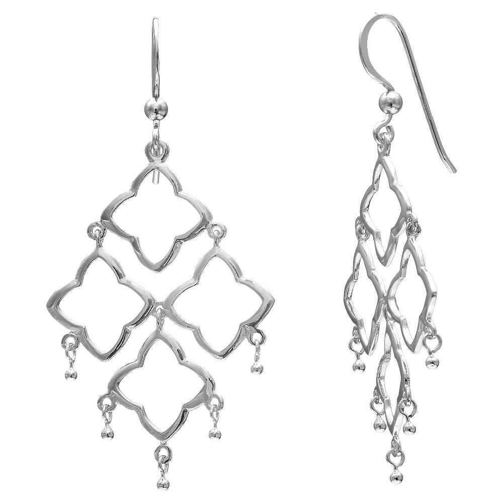 Image of Women's Sterling Silver Drop Kite Earrings - Silver (40mm), Size: Small