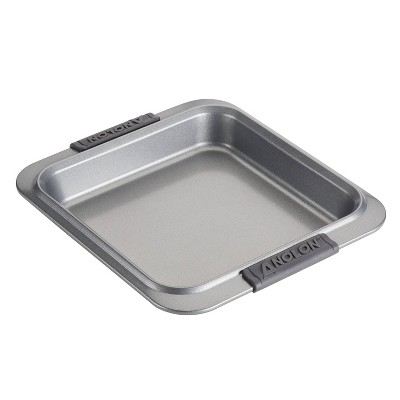"""Anolon Advanced Bakeware 9"""" Nonstick Square Cake Pan with Silicone Grips Gray"""