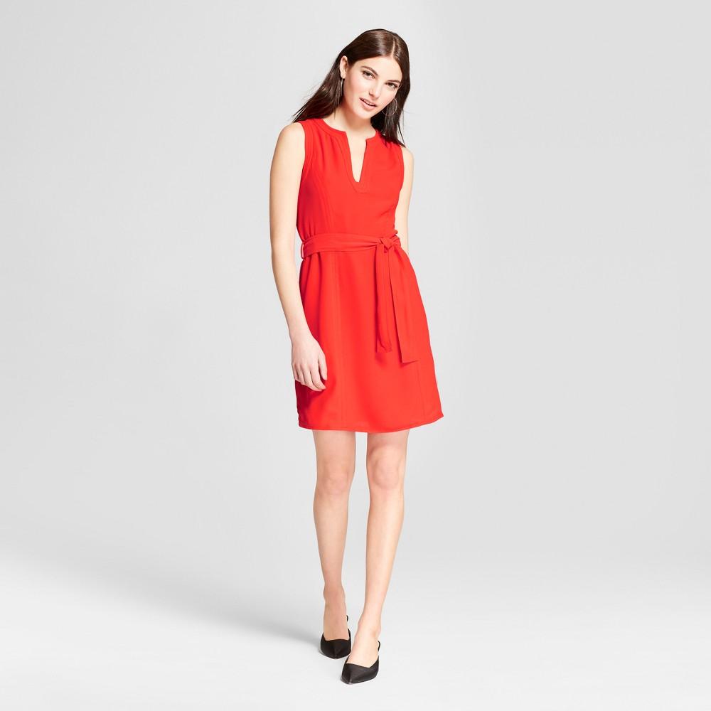 Women's Tie Waist Sheath Mini Dress - Éclair Red XL
