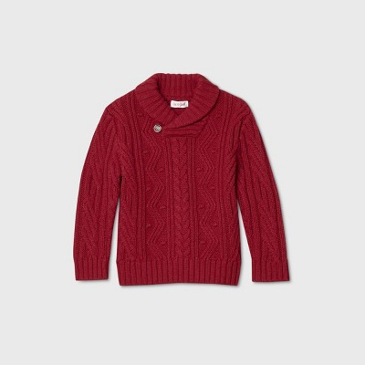 Toddler Boys' Shawl Collar Solid Pullover Sweater - Cat & Jack™ Red