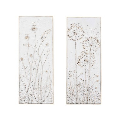 Set of 2 Metal Decorative Wall Décor with Flowers White - 3R Studios