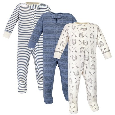 Yoga Sprout Baby Cottton Zipper Sleep and Play 3pk, Hedgehog