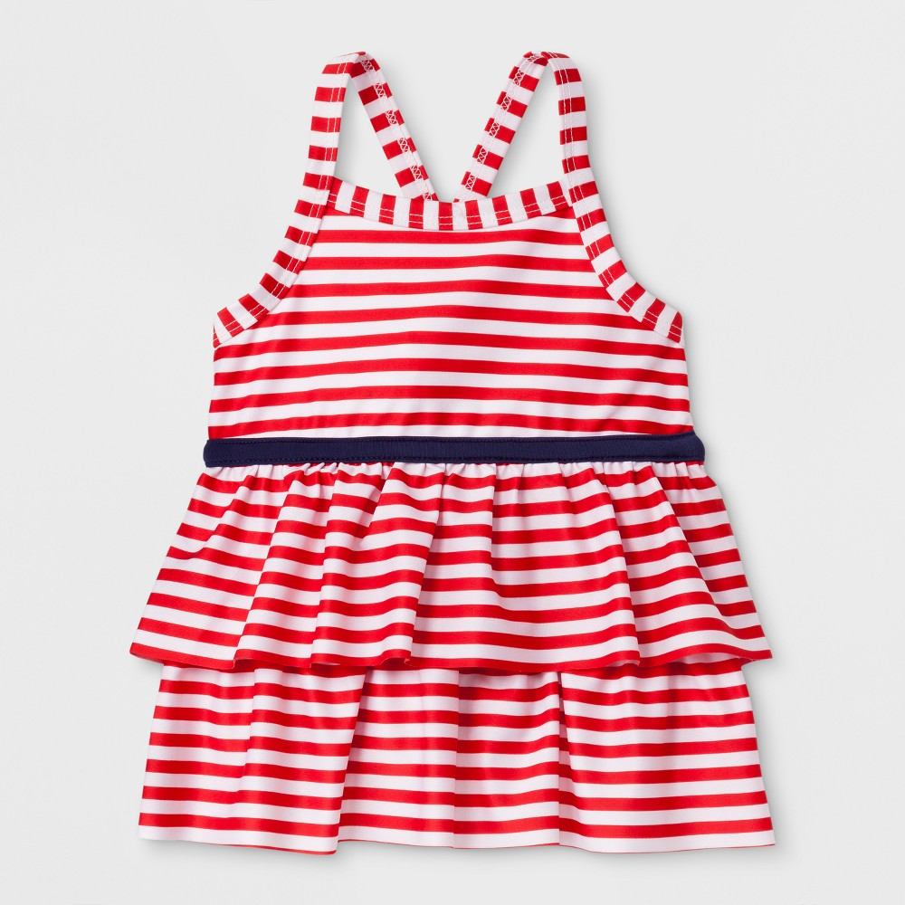 Toddler Girls' Adaptive Stripe Tankini Swim Top - Cat & Jack Red 3T, Girl's, Size: Small was $9.99 now $2.99 (70.0% off)