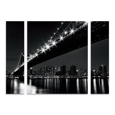"27""x33.5"" Katherine Gendreau 'Manhattan Bridge' Multi Panel Decorative Wall Art set - Trademark Fine Art"