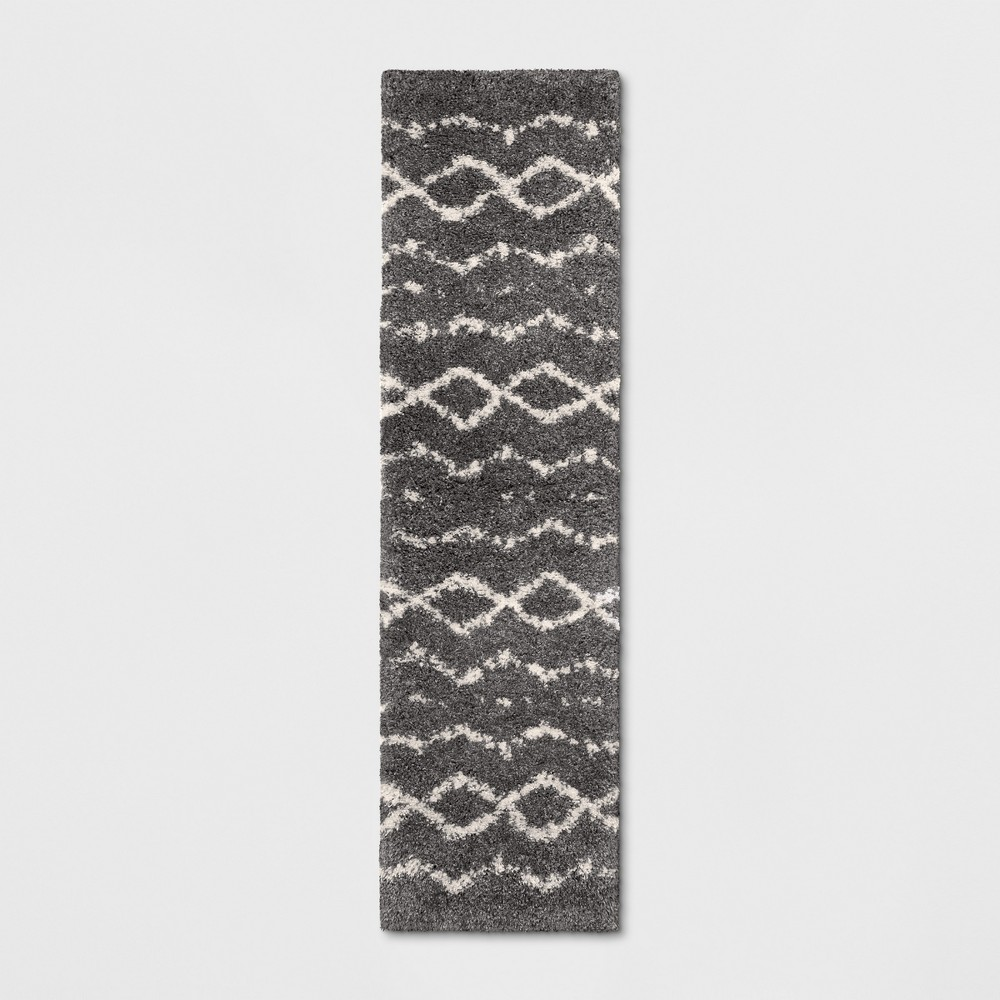 Woven Diamond Runner Rug Gray