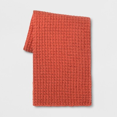 60 x50  Chenille Throw Blanket Orange - Threshold™