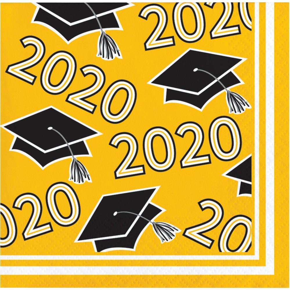 Image of 108ct Class Of 2020 Yellow Grad Beverage Napkins