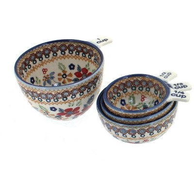 Blue Rose Polish Pottery Red Daisy Measuring Cup Set