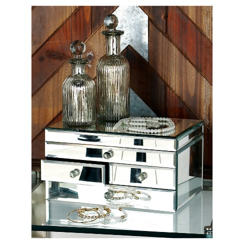 """Modern Reflections Mirrored Jewelry Box with Lid (11"""") Olivia & May - image 1 of 1"""