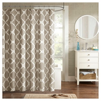 Becker Printed Geometric Shower Curtain - Taupe