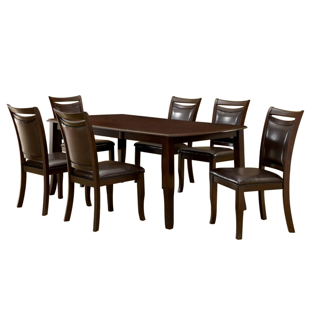 7pc Burton Rounded Dining Table Set Dark Cherry - miBasics