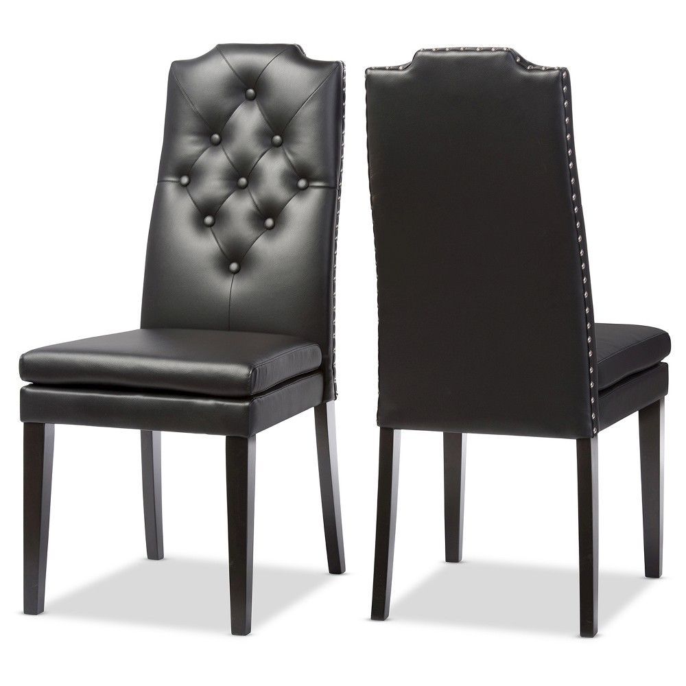 Dylin Modern & Contemporary Black Faux Leather Button -Tufted Nail heads Trim Dining Chairs (Set of 2) - Baxton Studio