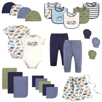 Touched by Nature Baby Boy Organic Cotton Layette Set and Giftset, Bold Dinosaurs, 0-6 Months