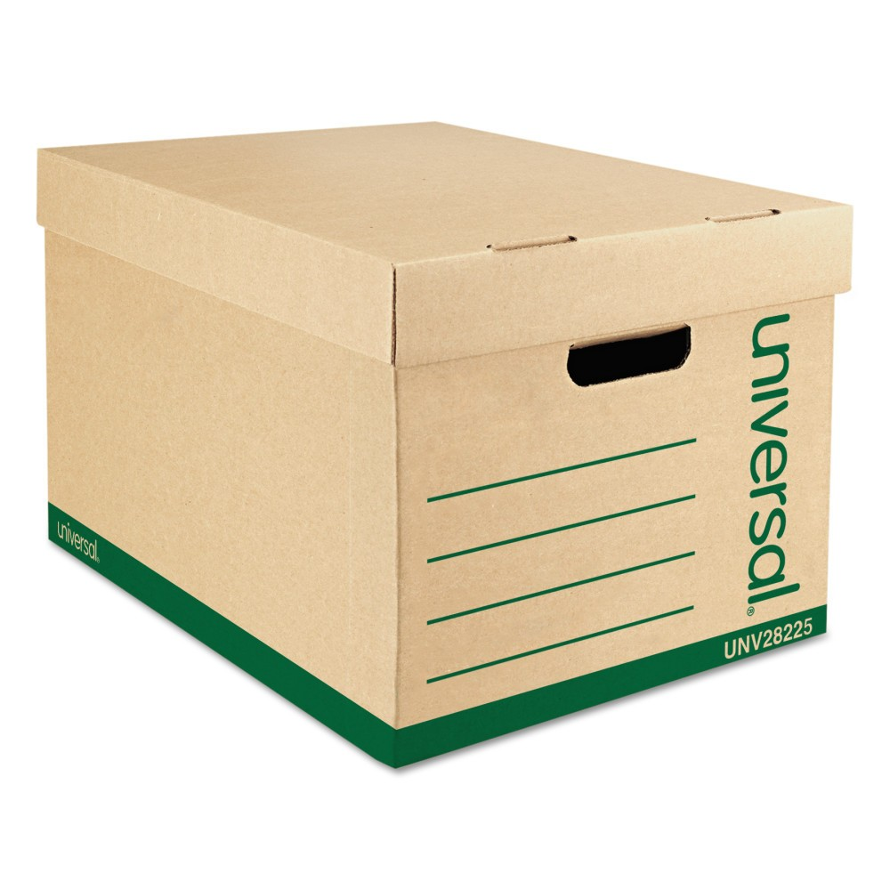 Image of Universal Recycled Record Storage Box, Letter/Legal, 12 x 15 x 10, Kraft, 12/Carton (28225), Brown