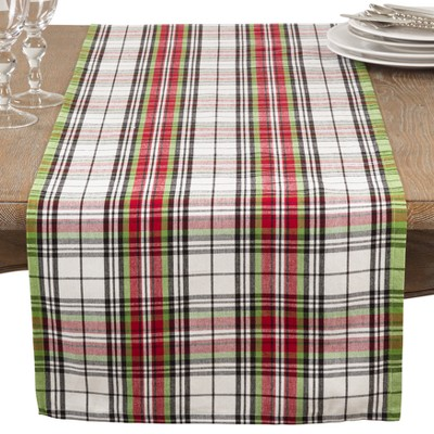 Green Red And Orange Plaid Table Runner - Saro Lifestyle