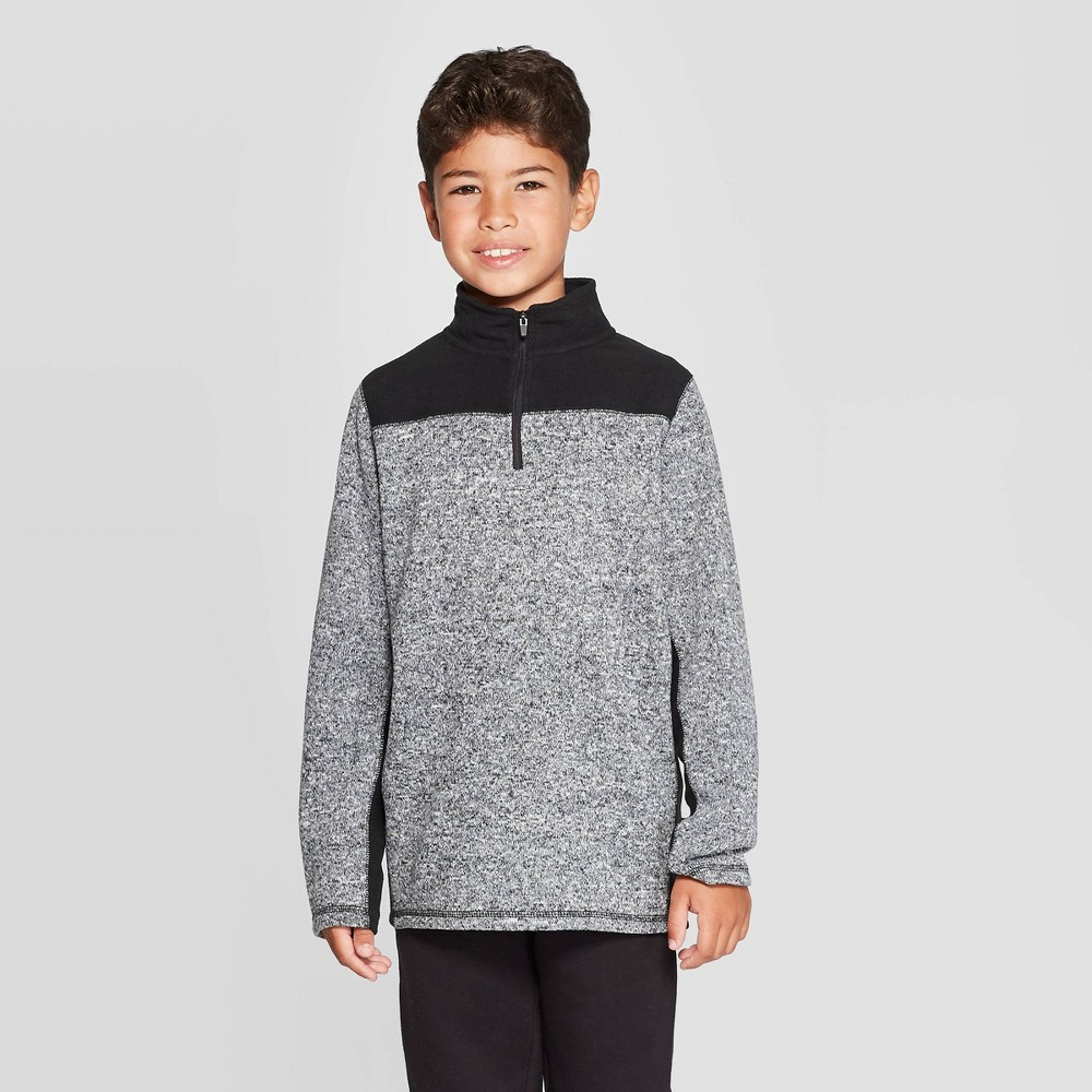 Image of Boys' Fleece 1/4 Zip Sweater - C9 Champion Black Heather L, Boy's, Size: Large, Black Grey