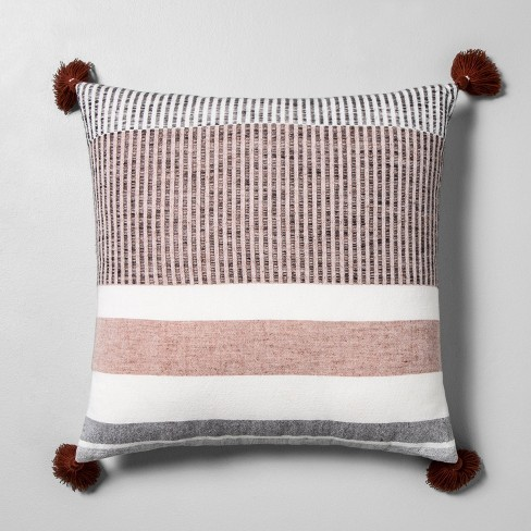 Striped Throw Pillow Sour Cream / Rust / Black - Hearth & Hand™ with Magnolia - image 1 of 3