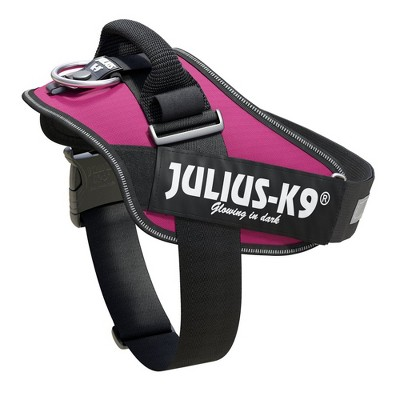 Julius K-9 16IDC-DPN-1 Powerharness Reflective No Pull Dog Walking Vest Harness for Medium Sized Dogs from 26 to 33.5 Pounds, Size 1, Dark Pink