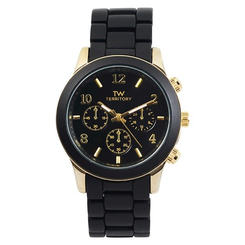 Men's Territory Classic Round Face Colored Metal Link Watch - Black - image 1 of 4