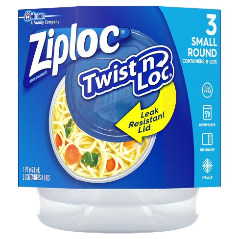 Ziploc® Twist n Loc Small Round Bowls with Lids - 16oz 3ct - image 1 of 5