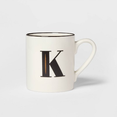 16oz Stoneware Monogram K Mug White - Threshold™