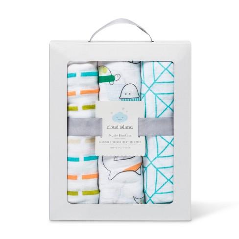 51e9a43ef6e Muslin Baby Blankets Animals 3pk - Cloud Island™ Orange   Target