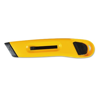 Cosco Plastic Utility Knife w/Retractable Blade & Snap Closure Yellow 091467