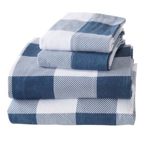 Great Bay Home 100 Cotton Flannel Buffalo Check Sheet Set Queen Navy Target