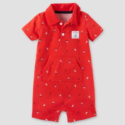 Baby Boys' One Piece Captain Adorable Polo Romper - Just One You™ Made by Carter's® Red 9M