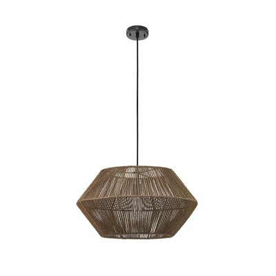 Malay Pendant Light with Twine Shade and Hanging Cord Black - Globe Electric