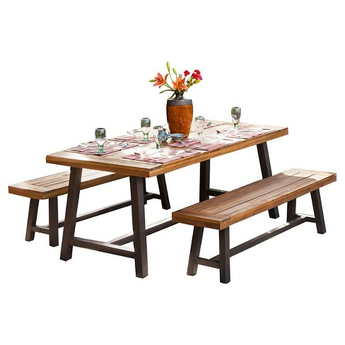 Carlisle 3pc Rustic Wood Patio Dining Set - Brown/Black - Christopher Knight Home - image 1 of 4