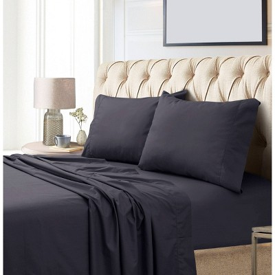 King 800 Thread Count Extra Deep Pocket Sateen Sheet Set Charcoal - Tribeca Living