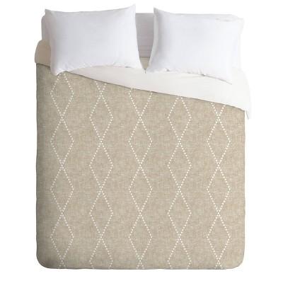 King Little Arrow Design Co Geometric Boho Diamonds Comforter Set Beige - Beige Deny Designs