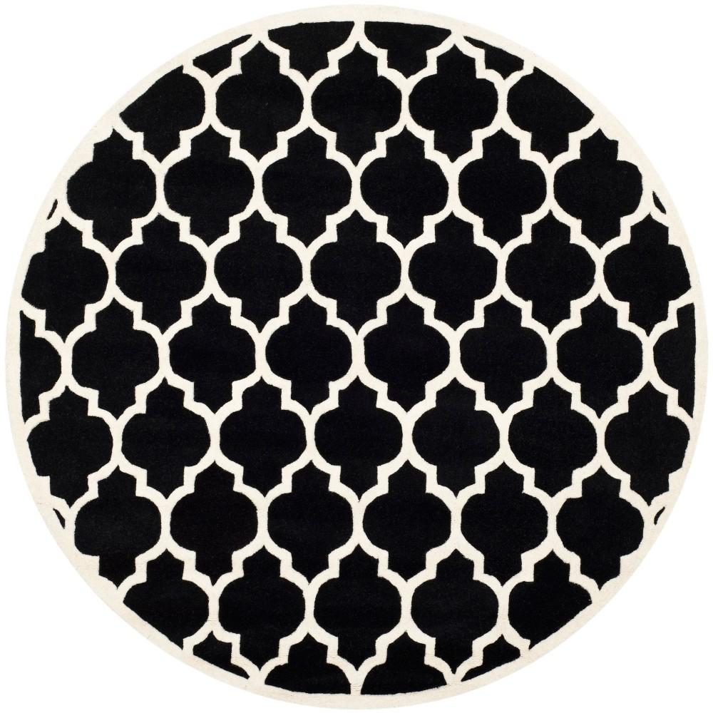 7' Quatrefoil Design Tufted Round Area Rug Black/Ivory - Safavieh