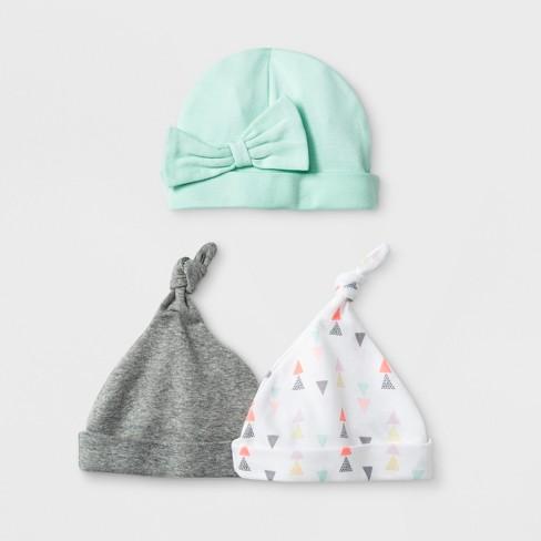 Baby Girls  Geo Bright 3pk Hats - Cloud Island™ Mint   Target 2ed862a3f76