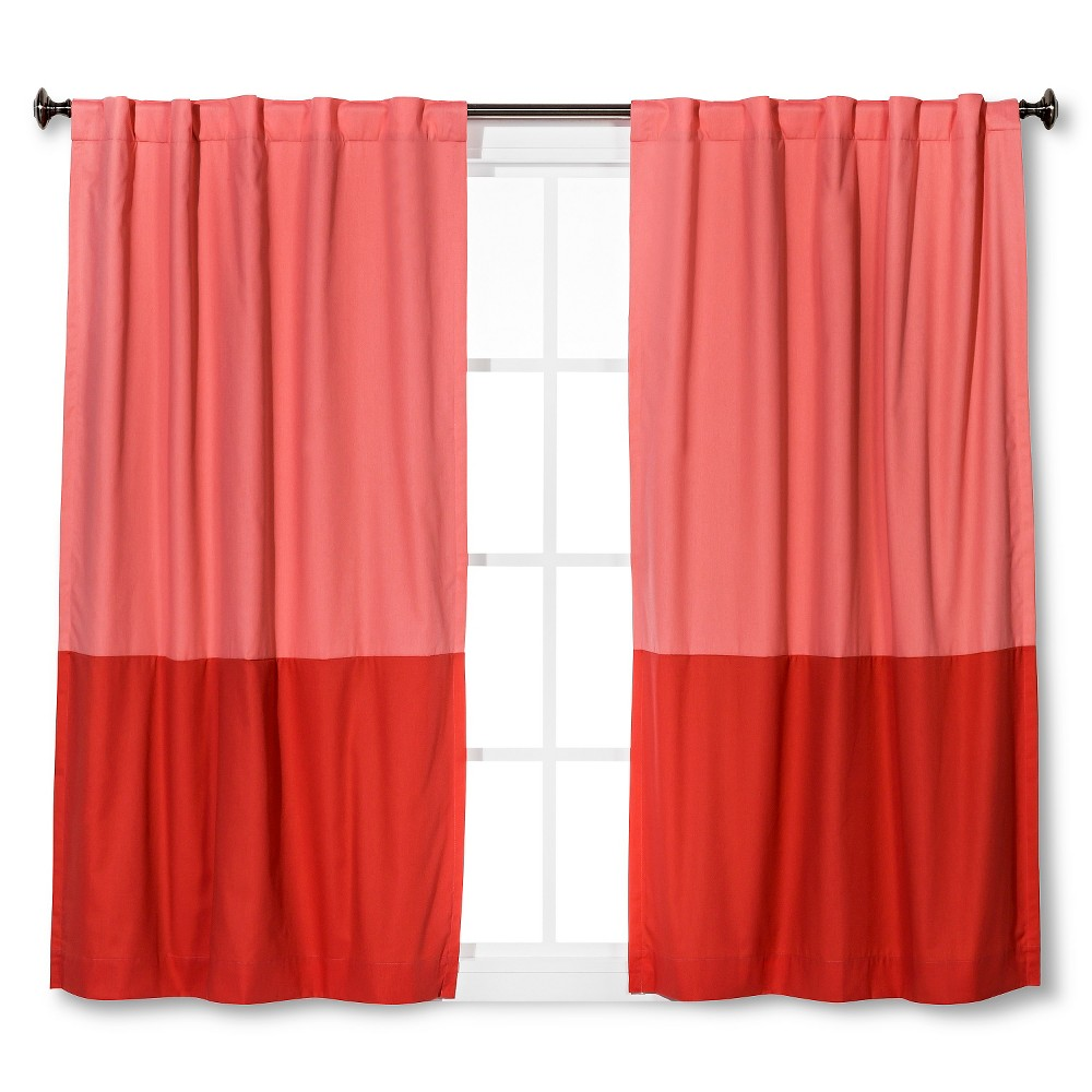 Twill Blackout Curtain Panel Pink Colorblock (42