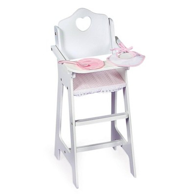Badger Basket Doll High Chair with Accessories and Free Personalization Kit - White/Pink/Gingham