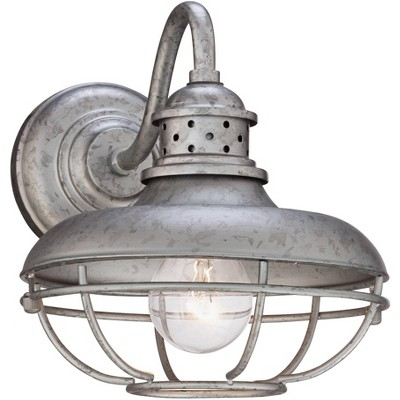 """Franklin Iron Works Farmhouse Outdoor Barn Light Fixture Galvanized Steel Open Cage 9"""" for Exterior House Porch Patio Deck"""
