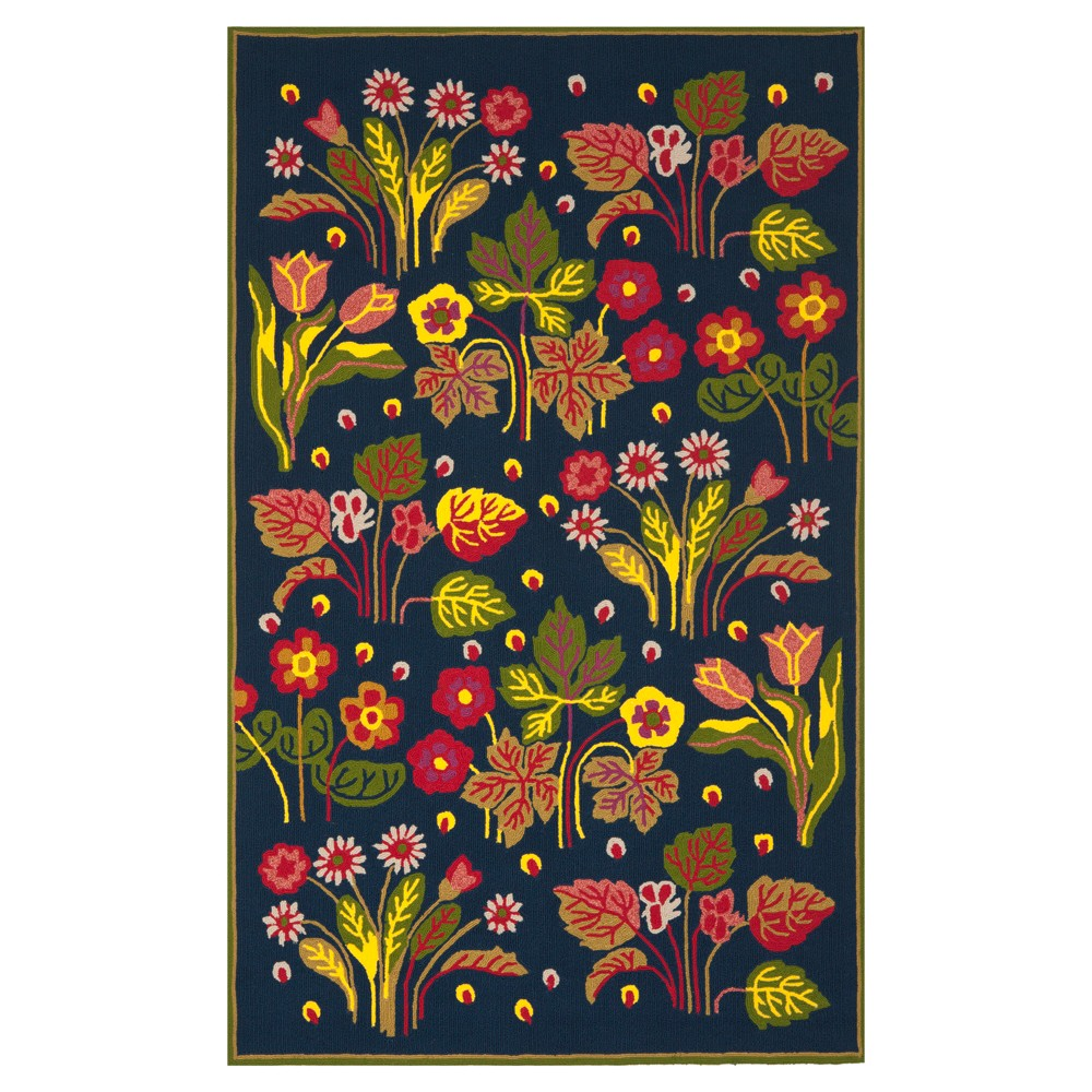 Navy/Green Botanical Hooked Area Rug - (5'x8') - Safavieh, Blue/Green