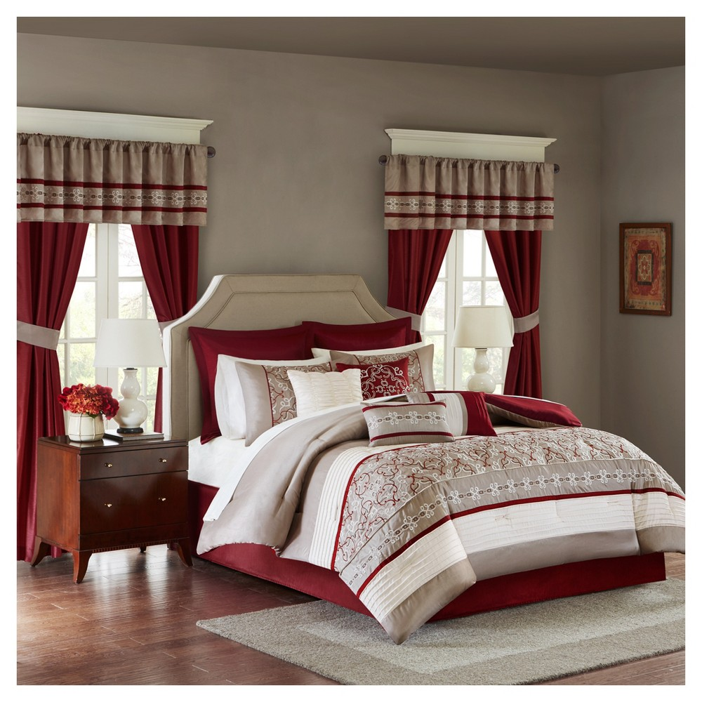 Red Ivana Comforter Set with Embroidery (Queen) 24pc