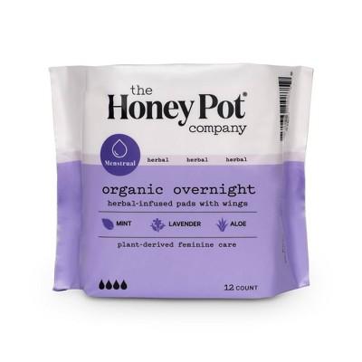 The Honey Pot Organic Cotton Herbal Overnight Pads - 12ct