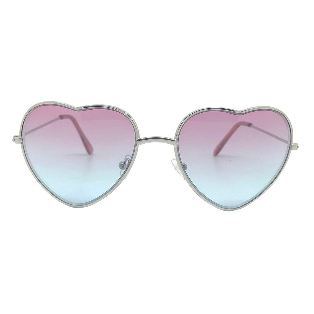 Girls' Hearts Sunglasses - Cat & Jack Pink One Size, Silver