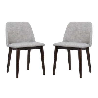 Horizon Contemporary Dining Chair Set Of 2 In Light Gray Fabric With Brown  Wood Legs   Armen Living