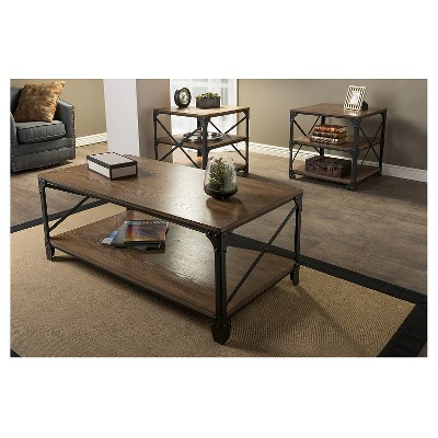 Greyson Vintage Industrial Coffee Cocktail Table And End Tables 3 Piece  Occasional Table Set   Antique Bronze   Baxton Studio : Target
