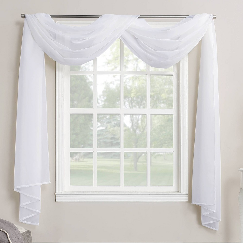 """216""""x59"""" Emily Sheer Voile Window Curtain Scarf White - No. 918"""